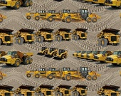 CAT Construction Machines on Dirt Background Fabric, by the yard