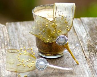 Gatsby Brooch Boutonniere Metallic Gold Prom 5m