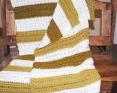 cream and spice stripes crochet toddler small lap throw blanket/afghan- discontinued yarn