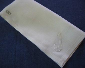 Handkerchief J Initial Monogram Men's Hankie Hand Hem Stitched & Embroidered White Linen for the Groom Vintage Unused Pure Irish Linen Label