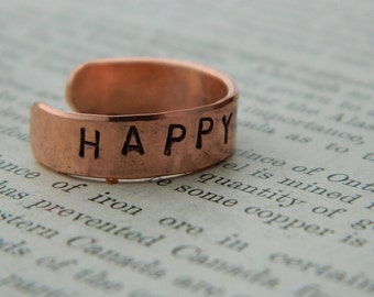 Inspirational ring Happyholic Copper ring adjustable ring handstamped jewelry