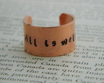 Quote ring All is Well Copper ring adjustable ring handstamped jewelry