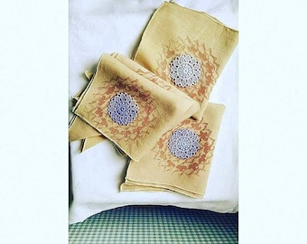 Coffee Dyed Handprinted Napkin Set