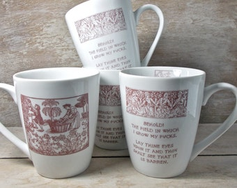 MISTAKE MUG, Medieval Tapestry Parody Mug, Grab Bag of DISCOUNTED Second Garden of Fucks, Tudor, Middle Ages, Coffee Cup, Mature Humor