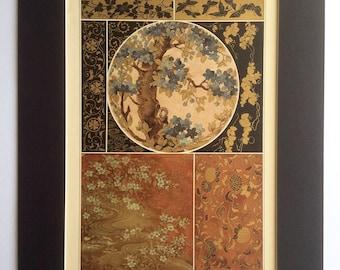 Antique JAPANESE LAQUER Work Floral Decoration GILT Chromolithograph Bookplate Print Interior Design 1890s Home Decor