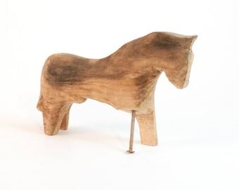 Viking Style Pirate Dala Horse with Peg Leg Natural Wood