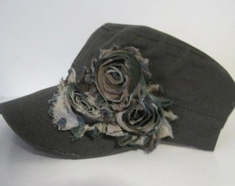 Grey Green Cadet Military Distressed Army Hat with Camouflage Chiffon Flowers Choose With or Without Accent