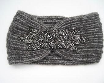 Grey Beaded Knit Ear Warmer Headband Head Wrap with Beautiful Beaded Appliqué Winter Hats Winter Accessories Headbands