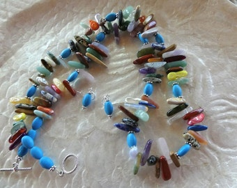 29 Inch Southwestern Multi-Colored Stick Bead Necklace with Earrings