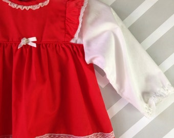 vintage red and white holiday dress for baby girl with lace trim size 3-6 months