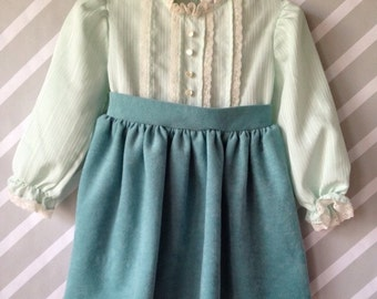 vintage mint green velour lace trimmed dress for baby by nanette size 18-24 months / 1-2 years