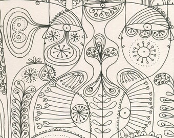 Adult colouring page - abstract colouring page - mindful art - mindful colouring - abstract line drawing - instant download -