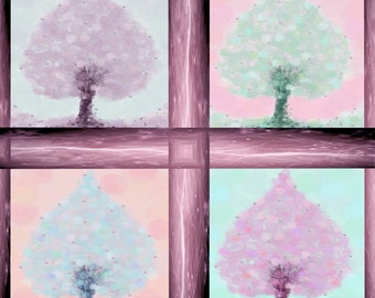 4 seasons window- healing symbols-wall decor- trees of life-wall hanging-print on paper 180gr-
