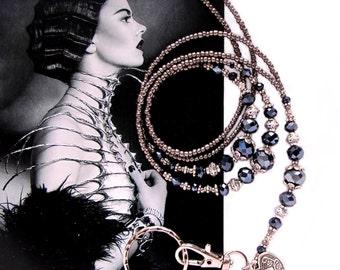 Lanyard, Grey silver metallic, black crystals and silver, Luxury beaded ID holder, Fashion lanyard, key chains & lanyards, ID badge clip,