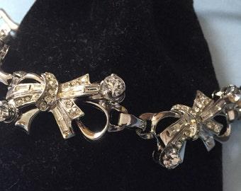 Barclay Bow Rhinestone Bracelet Vintage Jewelry SUMMER SALE