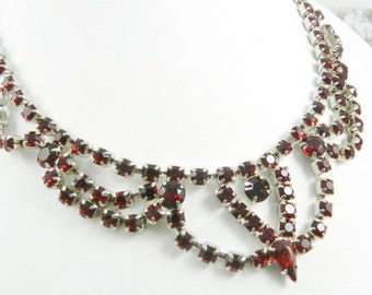 Red Siam Glass Necklace Festoon Victorian Revival Vintage Jewelry, FALL SALE