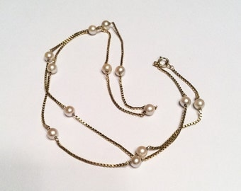 Pearl 14K Gold Necklace Venetian Chain Vintage Jewelry, CHRISTMAS SALE