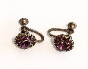 Art Deco Earrings, Amethyst Pink Rhinestone, Screwback, Vintage Jewelry, Gift for Her SPRING SALE  Mother's Day