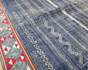 Handwoven cotton Vintage fabrics,  Indigo Blue, Hmong, Table runner- from Thailand