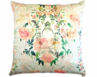 Botanical Floral Cushion / Pillow in Duck Egg, Silk Cotton. Hand Painted Peach Roses. Interior decoration. feminine. Country Living. Style