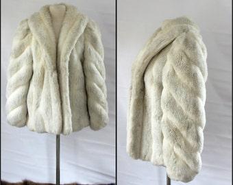 Vintage, Jordache, FAUX white FUR coat , medium