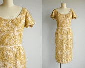 Vintage 60s Gold Beaded Dress / 1960s Brocade Gold Metallic Beaded Cocktail Party Dress