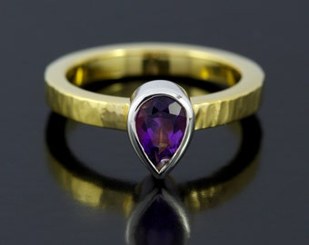 February Birthstone Engagement Ring. Teardrop Engagement Ring. Gold Amethyst Ring With Hammered Finish - CS1528