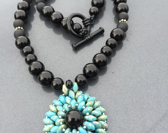 Turquoise and Black Necklace