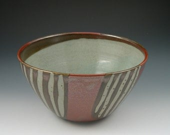 Serving Bowl in Red with Stripes Handmade Pottery Ceramics