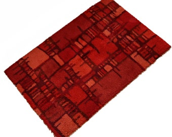 Huge Swedish Mid-Century Red Abstract Rya Rug