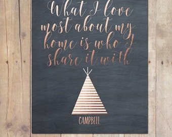 Gold Calligraphy Metallic Chalkboard Customized Teepee Family Print What I love most about my home art 8x10