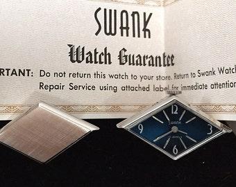 RARE Original Vintage SWANK Blue Diamond Watch Cufflinks