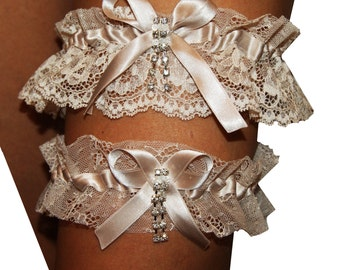 Set of Tossing and bridal garter for your wedding, hen night lace champagne beige