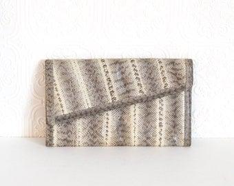 Vintage Snakeskin Clutch Handbag Asymmetrical Envelope Style R Saldana 1980s