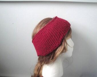 Knit Ear Warmer with Ear Flaps, Cranberry Red, Headband, Wool Blend, Adults Teens Children