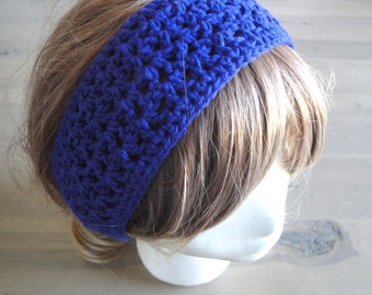 Crochet Headband, Tie Back, Bright Royal Purple, Cotton Headband, Headwrap, Hair Tie, Women & Teen Girls