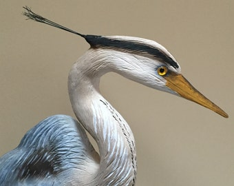 ON HOLD FOR P.H. Hand Carved Blue Heron, Great Blue Heron, Heron Art, Heron , Bird Carvings, coastal decor