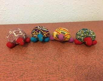 Set of 4 Small Stuffed Turtles, Turtle Knick Knack, Turtle Decor