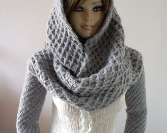 KNITTING PATTERN HOOD with Sleeves Hooded Scarf Pattern - Khloe Scarf with sleeves - Chunky Scarf Long Sleeves, pdf files Instant Download
