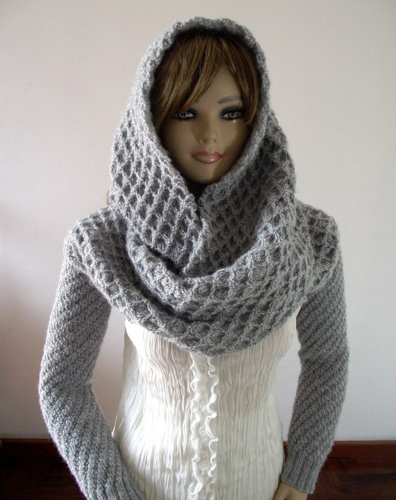 Knitting Pattern For Scarf With Sleeves : KNITTING PATTERN HOOD with Sleeves Hooded Scarf by LiliaCraftParty