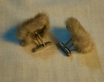 Vintage Mink Fur Cufflinks