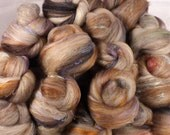Fiber Batts - Bobcat Sticklebatts - (4 oz.)35% corriedale fleece, bfl, finn,  silk, bamboo, merino, silk noil