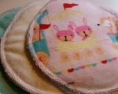 6 reusable wahable flannel cotton nursing pads for bra A B C D DD nursing breastfeeding - all aboard baby on the train