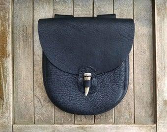 Medieval Leather Pouch, Renaissance Bag, Heavy Black Leather, Deer Antler Point Closure, Large