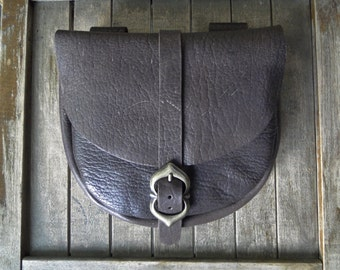 Medieval Leather Pouch, Renaissance Bag, Chocolate Brown Leather, Antique Brass Medieval Buckle, Large