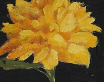 Yellow Flower painting original oil small floral still life wall decor on wood panel 6x6 inches