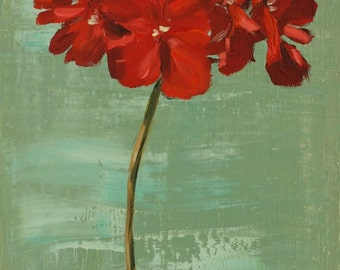 Red Geranium flower Still Life Painting, Original Oil on wood panel, 8x10 inch wall decor