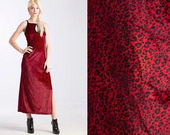 Vintage Sassy Maxi 90s Velvet Red Leopard Print Slit dress // KeyHole