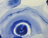 Original Blue and White Painting on a  Postcard P918