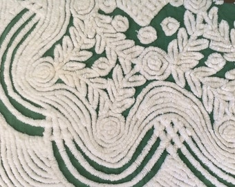 Hoffman Forest Christmas Green Vintage Chenille Bedspread Fabric FQ